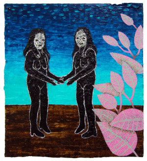 'catherine & carol'   acrylic and oil on cardboard   23 x 21 cm.